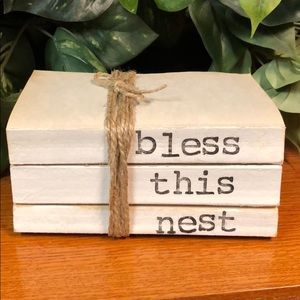 3 farmhouse inspired books stamped Bless this nest